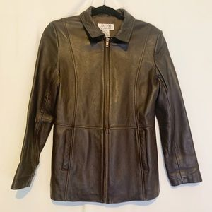 Leather jacket dark brown super soft zip medium p
